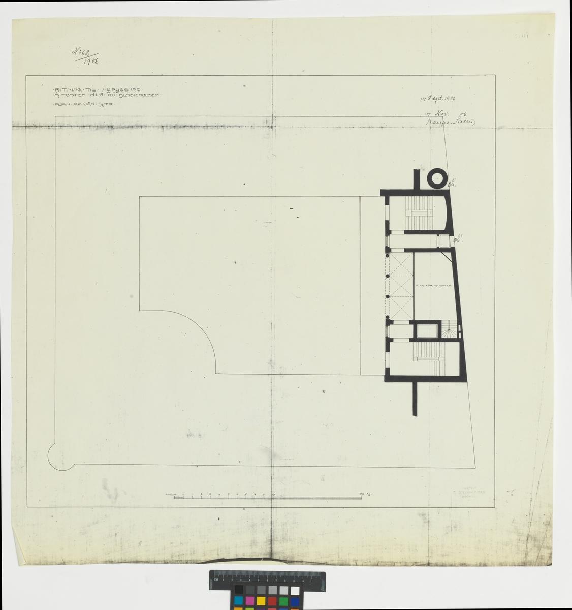 Ritning till nybyggnad å tomten no 19 Kv. Blasieholmen