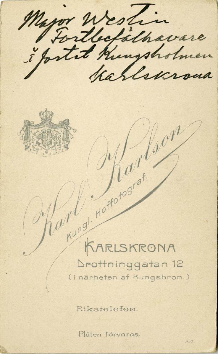 Porträtt av Hugo Werner Westin, major vid Vaxholms artillerikår A 8.