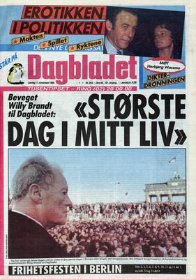 Dagbladet 1989. Foto/Photo