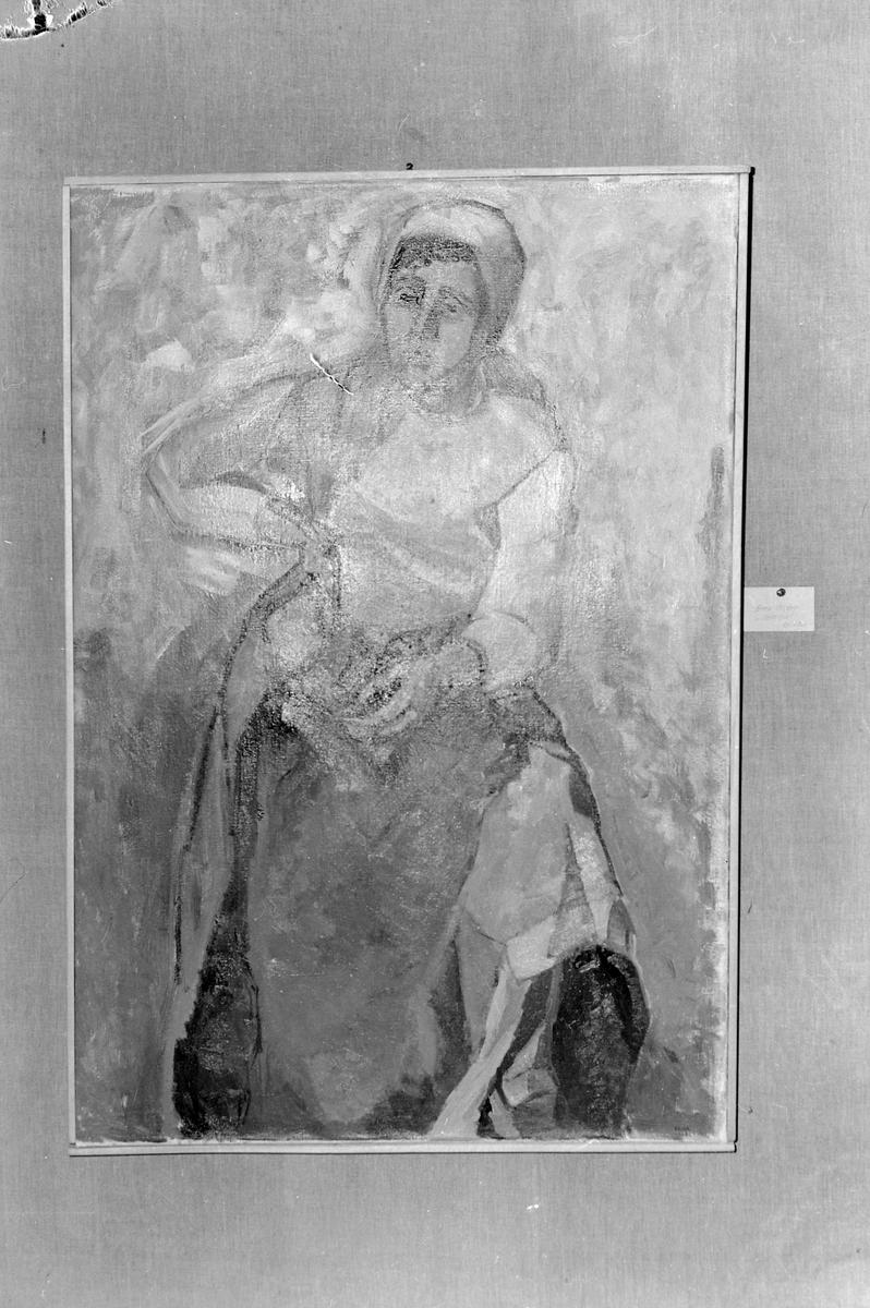 Maleri utstilt i Trondheim Kunstforening, verker av Carl Jerv, Aase Brandtzæg Koch, Oskar Hokstad og Erna Olsen.