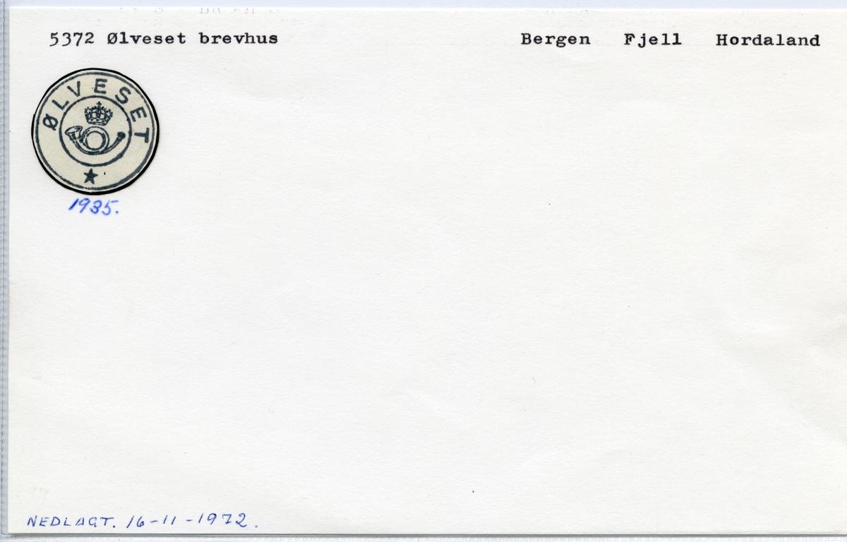 Stempelkatalog  5372 Ølveset, Fjell kommune, Hordaland