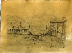 Tegning av Gol Prestegard frå 1846.