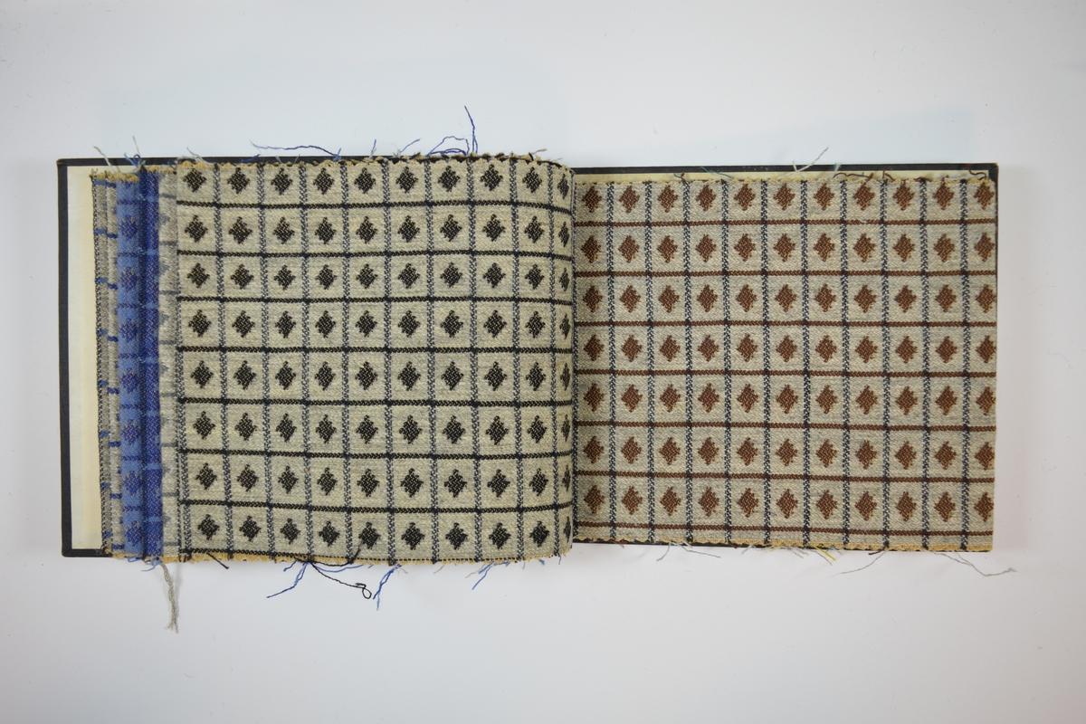 Rektangulær prøvebok med harde permer og ti stoffprøver. Permene er laget av hard kartong og er trukket med sort tynn tekstil. Boken inneholder middels tykke stoff med rutemønster hvor de vertikale og horisontale linjene har ulik farge, i tillegg er et trapes av samme farge som de horisontale linjene plassert inni hver rute.  Kyperbinding/diagonalvevd, blant annet. Fargene varierer mellom stoffene, men mønsteret er det samme. Stoffene ligger brettet dobbelt i boken slik av vranga skjules. Verken stoffet eller boken er merket med nummer, slik de fleste andre prøvebøker er.    Ukjent/uten stoffnummer.