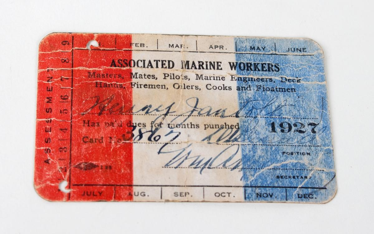 """Arbeidskort """"Associated Marine Workers, New York"""""""