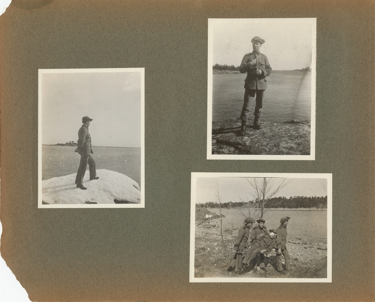 Porträtt av en soldat stående på stranden.