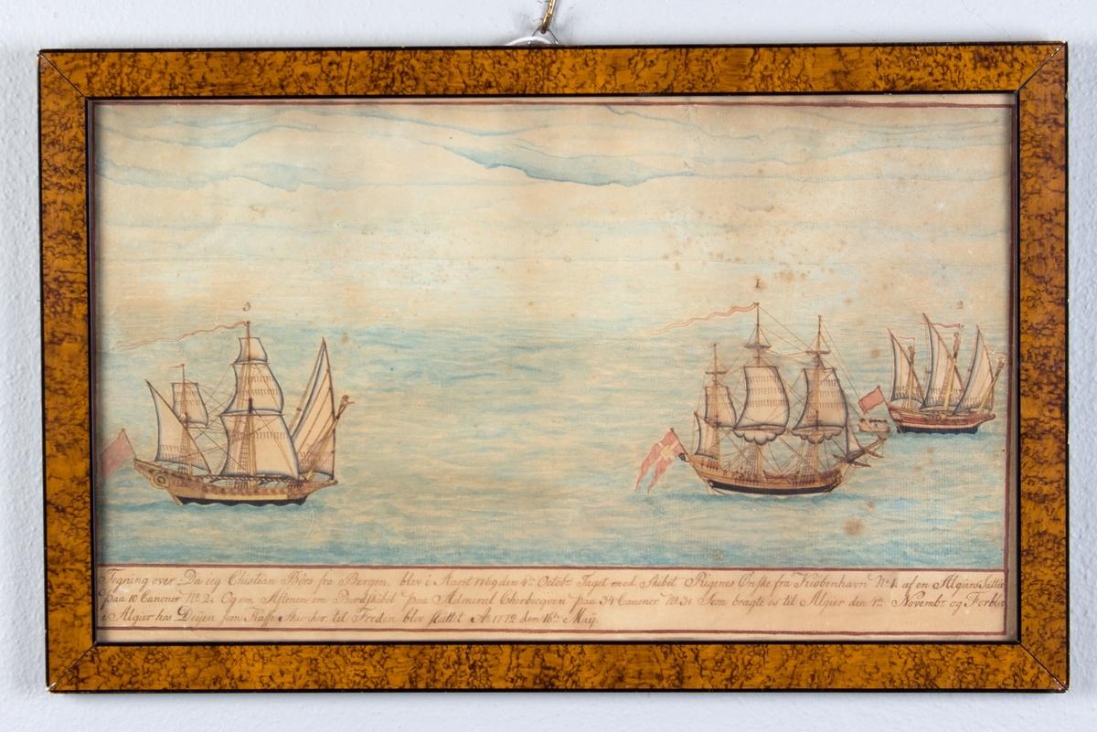 Fregattskipet RIGERNES ØNSKE da det ble tatt av algirske sjørøvere i 1769. Tre skip på åpent hav. RIGERNES ØNSKE har dansk flagg med riksregalia i akter.