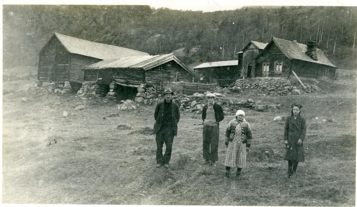 Ei ungjente, ei kvinne og to menn står nedenfor Sørre Hemsing gard, Vang i Valdres