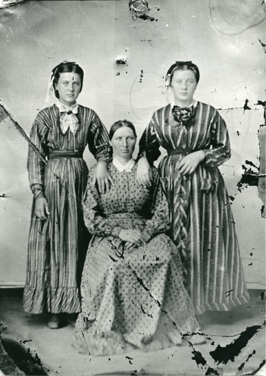 Ei mor med to døtre synar kvinneklede. Truleg i Reinli.