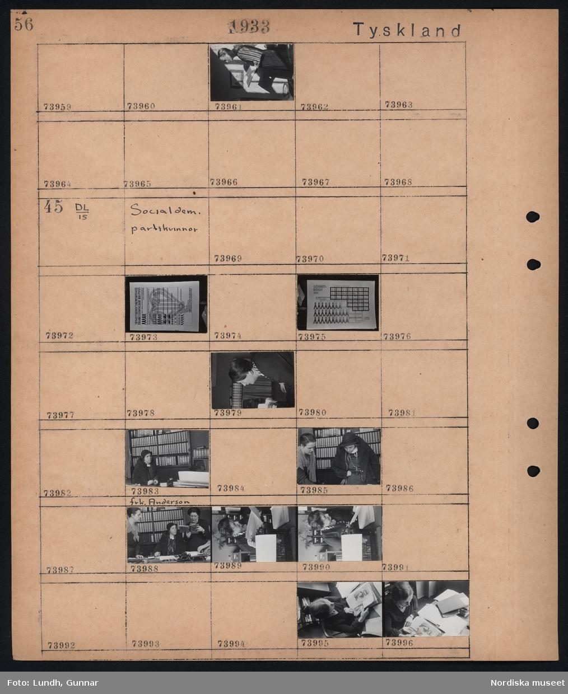 """Motiv: Tyskland, Soc. dem. partikvinnor; Porträtt av en person som håller en bok.  Motiv: Tyskland, Socialdem. partikvinnor; Affisch """"Tätigkeitsbericht D. Bezirksausschuss. Für  Arbeiterwohlfahrt Berlin 1931......"""", affisch """"Geschäftsbericht 1931......"""", porträtt av en kvinna, porträtt av frk. Andersso,  en grupp kvinnor läser böcker och tidningsklipp."""