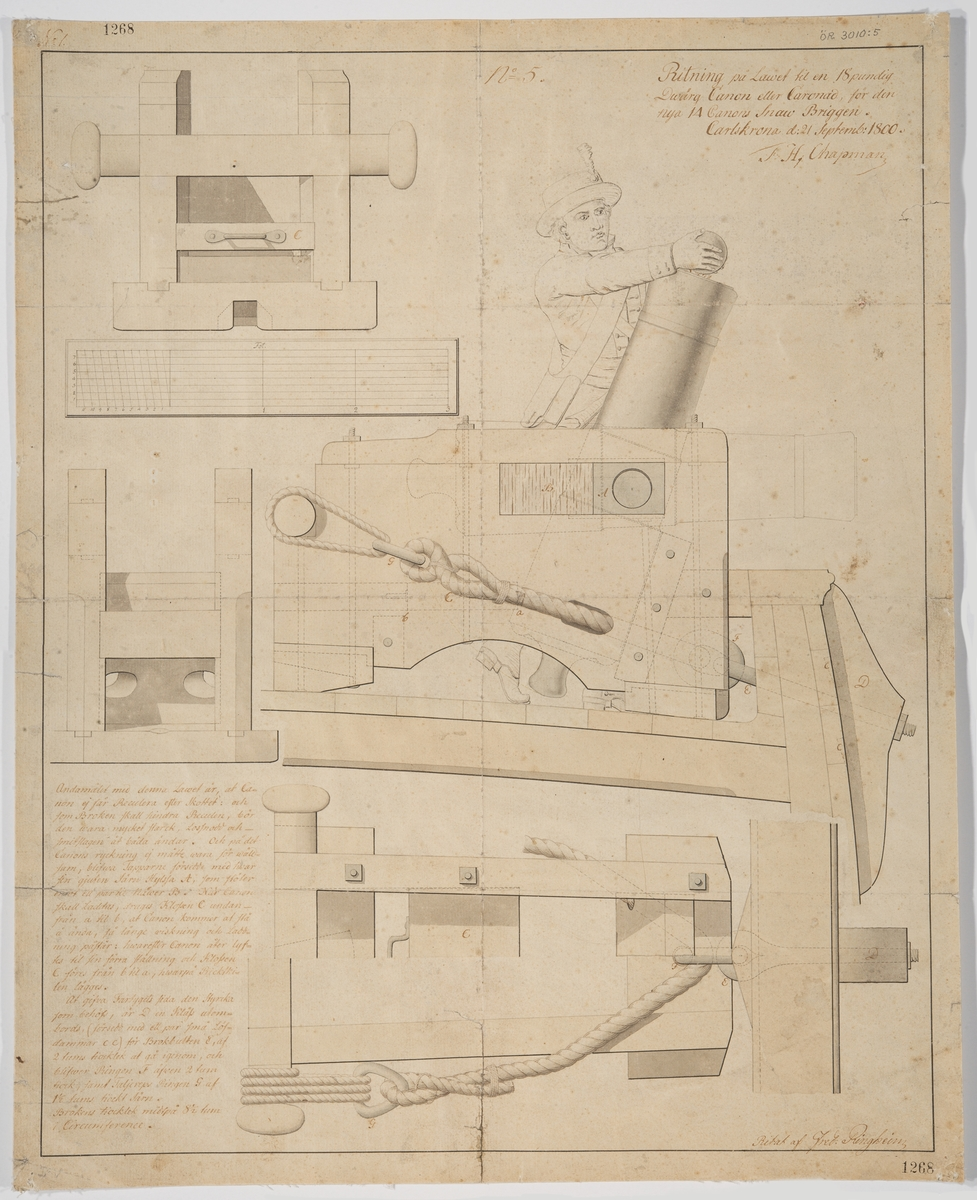 Lavett till en 18 pundig dvärgkanon eller kanonad för den 14 kanon snaubriggen