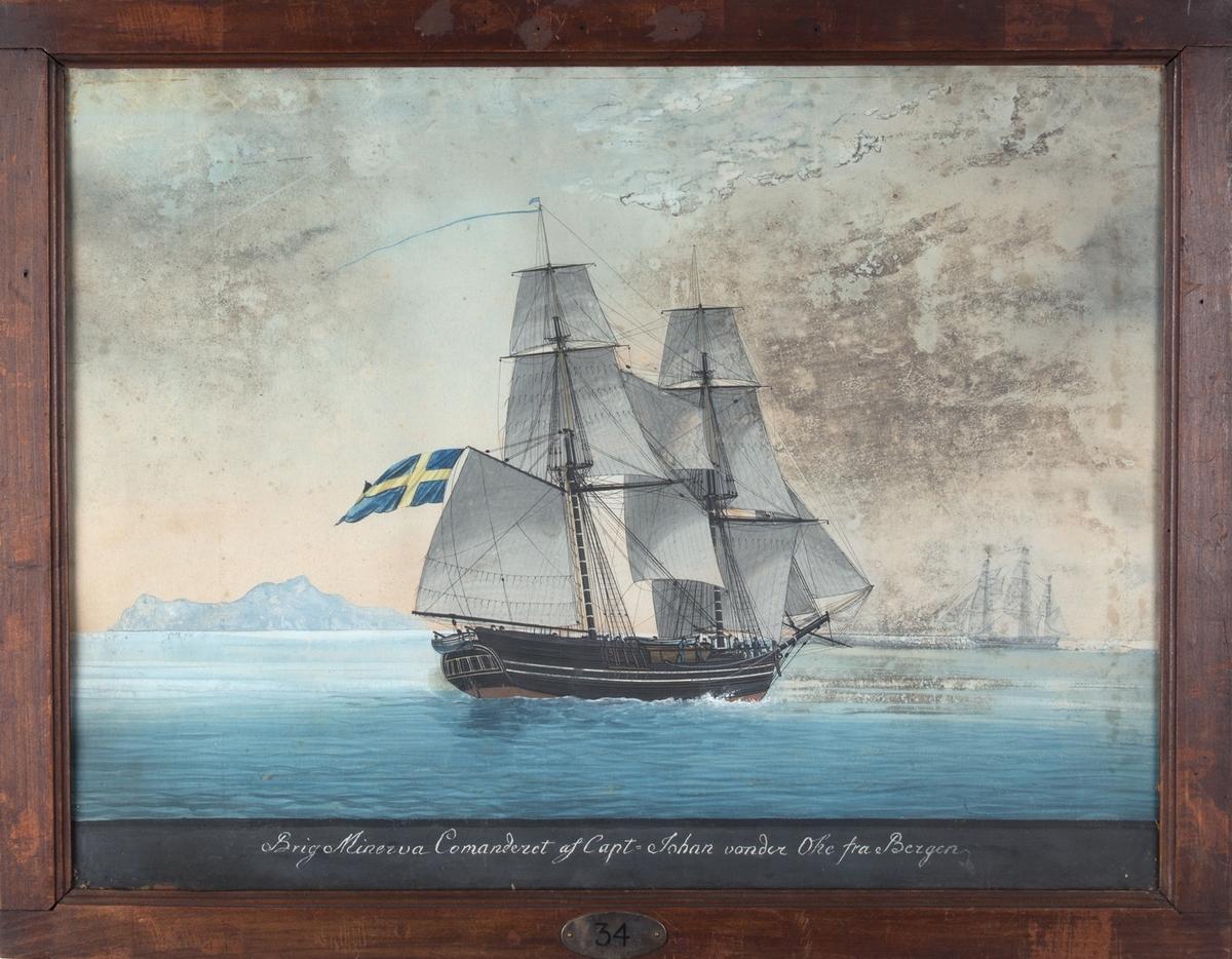 Briggen MINERVA fra Bergen. Svensk flagg under gaffelen. En bark til venstre i motivet.