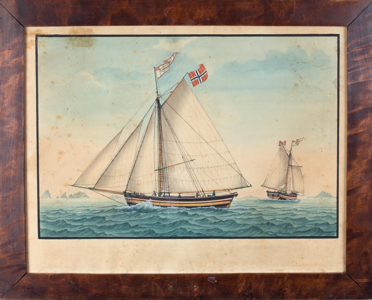 Skipsportrett av jakt INGEBORG under fulle seil. Fører vimpel med skipets navn/norsk flagg, samt norsk flagg. Ser samme skip aktenfra i høyre del av bildet.