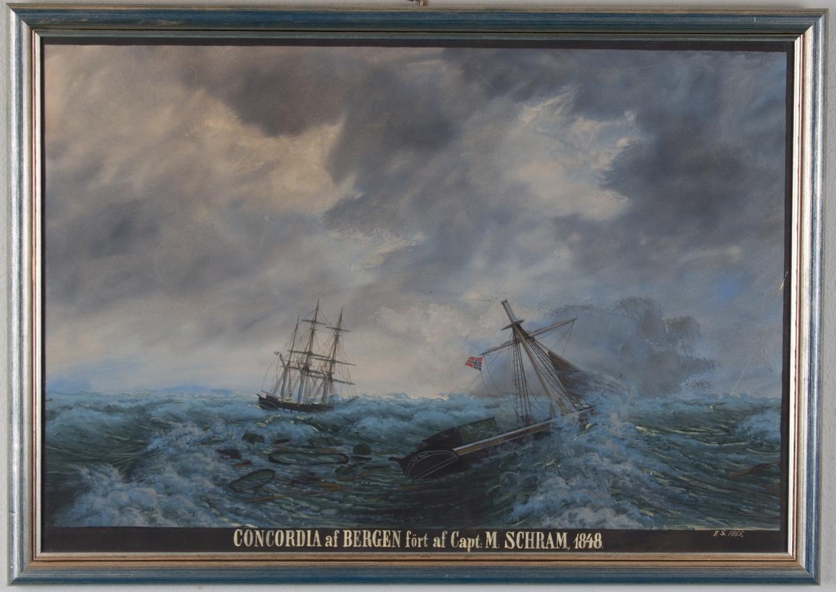 Skipsportrett av skonnertbrigg CONCORDIA  etter den måtte kappet riggen overbord natten 27.-28. februar 1848 under storm.  Ser unionsflagg i knekt mast.