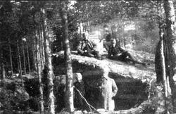 Karlsborgs skjutfält (täckt rum) 1908.  Neg. finns.