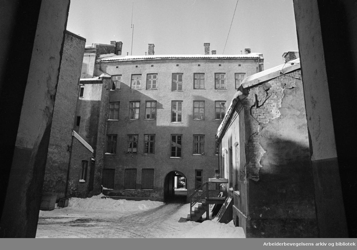"""Grünerløkka:.Bakgården i Markveien 56 c, prøveprosjekt nr.1, som skal """"nyskapes"""" for vel 1,5 millioner kroner. Februar 1977"""