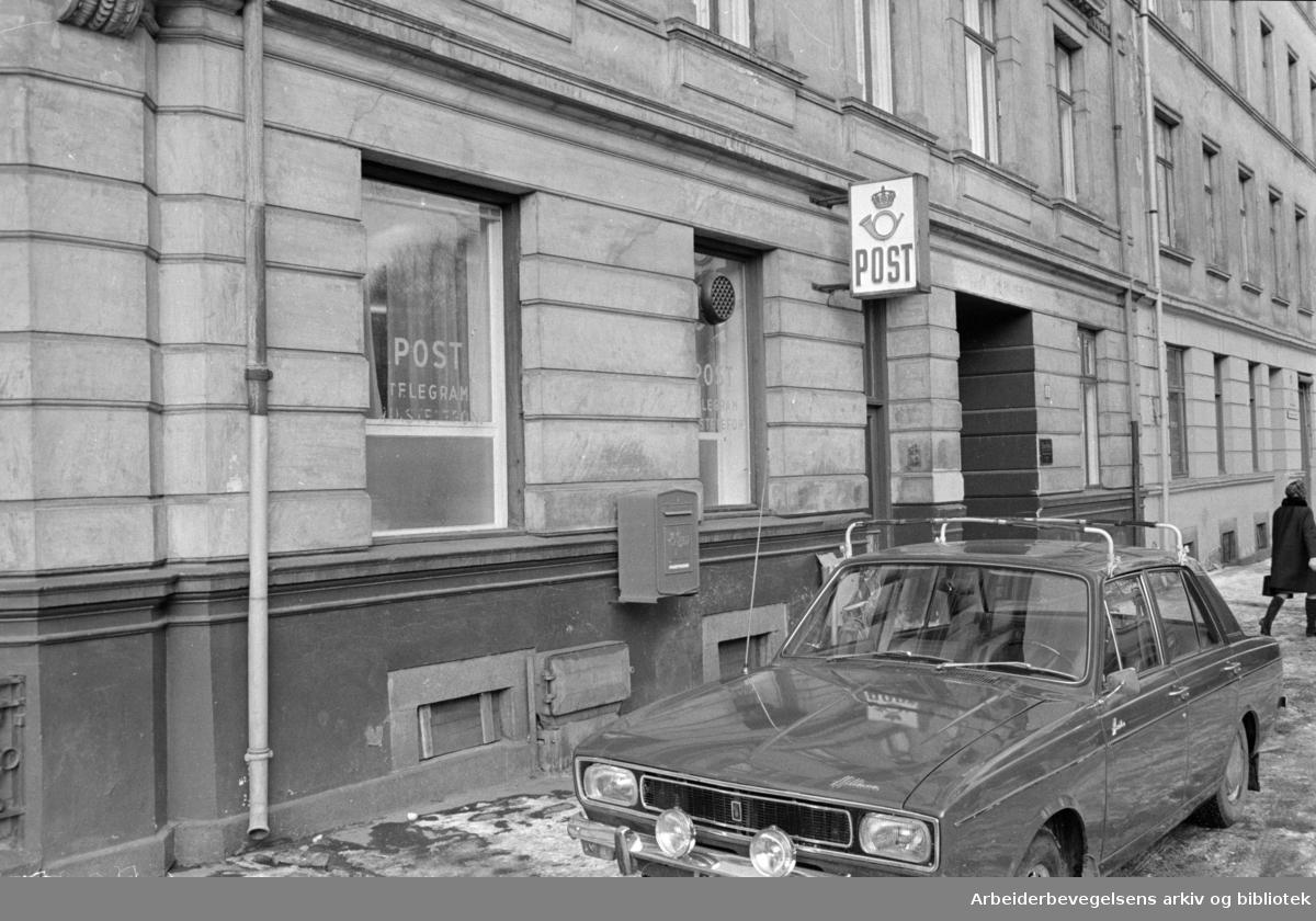 Grünerløkka: Grünerløkka postkontor. Mars 1969