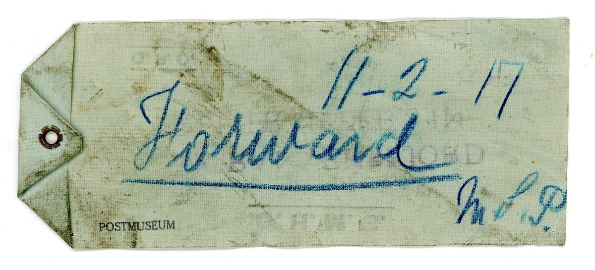 Etikett för postpåse öppnad av krigscencuren i England. Använd under första värlskriget.