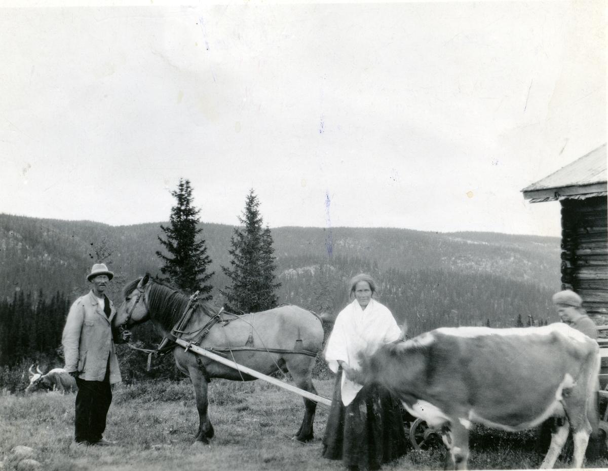Anton Brager og datteren Marie på setra i Hedalen, Sør-Aurdal.