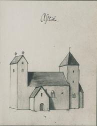 Alböke kyrka. Petrus Törnewall teckning efter Johannes Haqui
