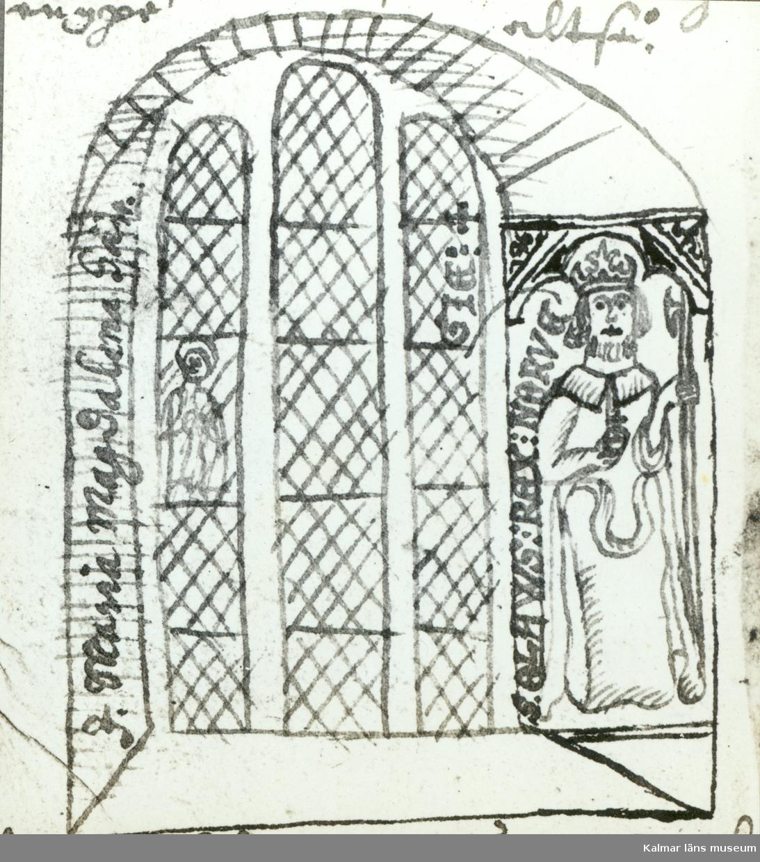 """Ölandskyrkor. Serie efter Rhezelius. Petrus Törnewall (troligen) 1673.  """"Godt mit uns wol kan den weder uns sin anno christi 1616. I.S."""""""