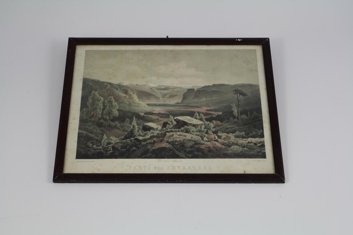 Fra forgrunnen som dannes av et høytliggende, steinet og knauset terreng, utsikt over den lavereliggende dal, omgitt av høye fjell.