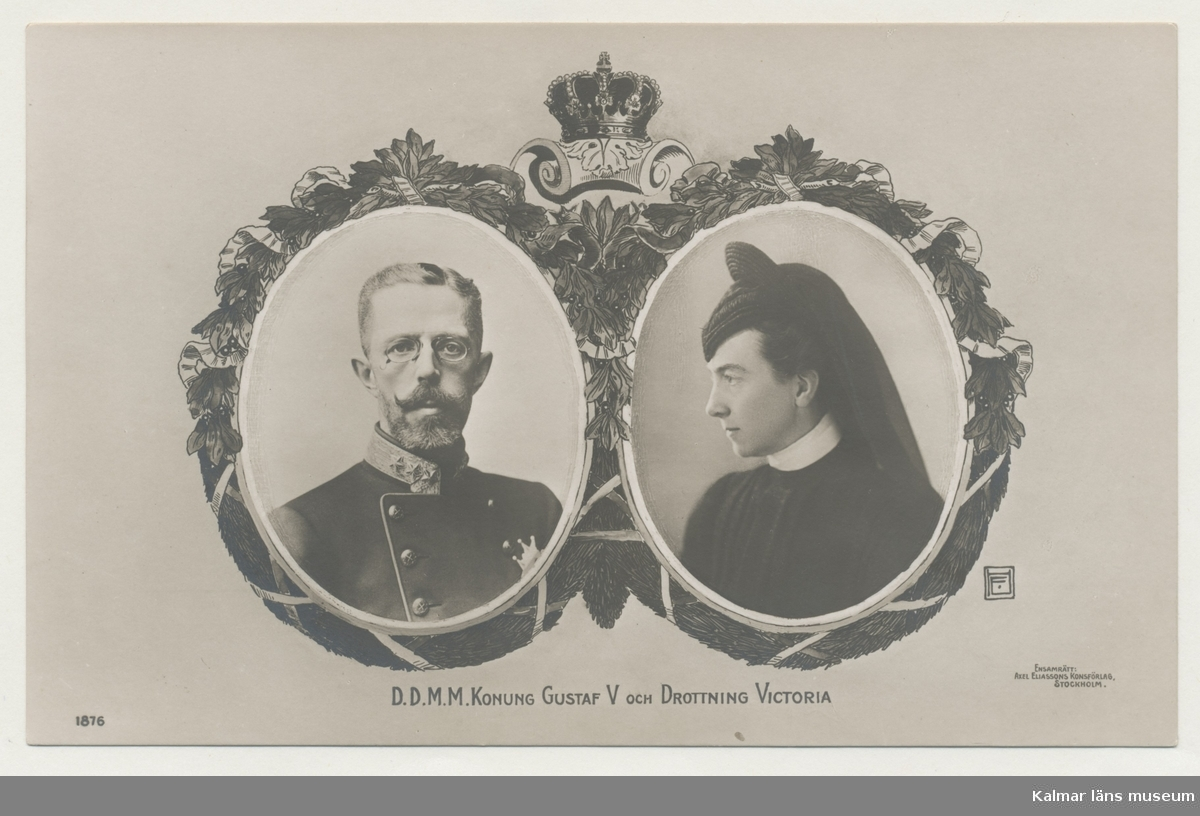 Vykort med porträtt av kung Gustaf V och drottning Victoria av Baden.