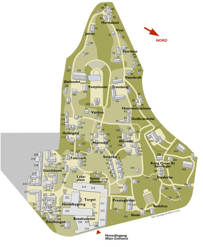 Kart over Friluftsmuseet