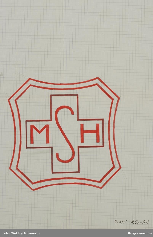 """""""MSH"""" Likearmet kors med ramme rundt"""