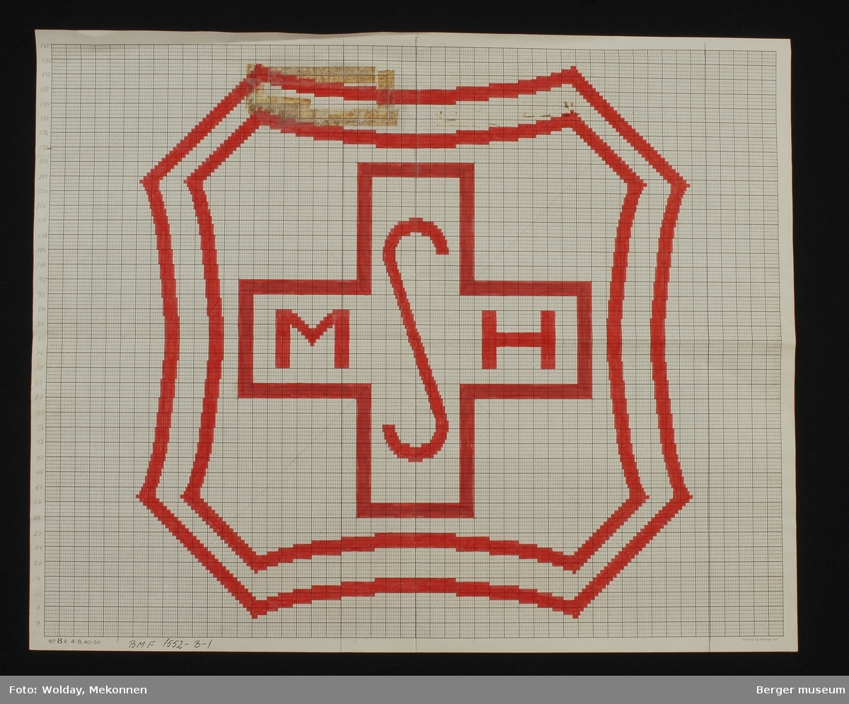 """""""MSH"""" Likarmet kors med ramme rundt"""