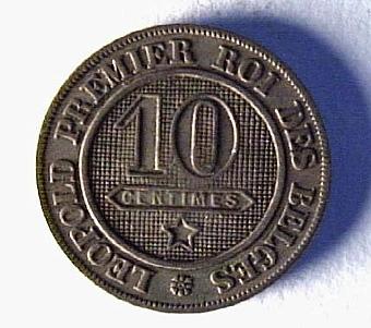 BELGIEN 10 CENTIMES 1861, LEOPOLD I. LITT SE: WORLD COINS 183/7   Neg.nr:  Sakord: MYNT Tillverkningstid: 1861 Material: KOPPAR-NICKEL Teknik: PRÄGLAT Mått: DIAM=21 Vikt: