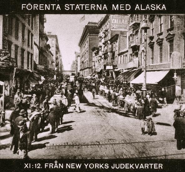 Bildtext: Förenta Staterna med Alaska. XI:12 Från New Yorks judekvarter.