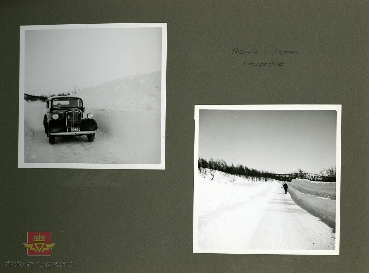"""Baalsruds minnealbum . """"Mindealbum"""". Fra deltagerne i Veg- og Jernbanekomiteens reise i Troms fylke 1937. Albumet inneholder 17 sider med bilder og håndskrevet informasjon til bildene."""