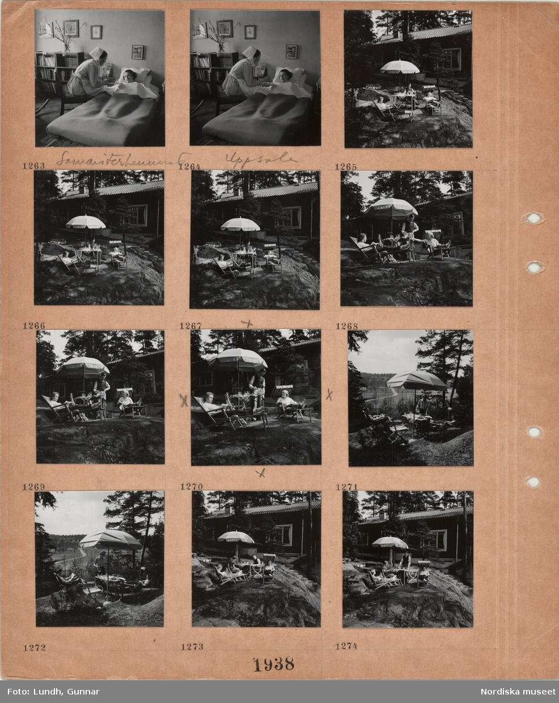 Motiv: Samariterhemmet Uppsala, interiör med sängliggande kvinna, bokhylla med böcker, tavlor, en sköterskeklädd kvinna sitter bredvid sängen och matar patienten, ett hus på en bergig naturtomt med utsikt mot jordbrukslandskap, framför huset utemöbler, solstolar, parasoll, några personer sitter och läser.