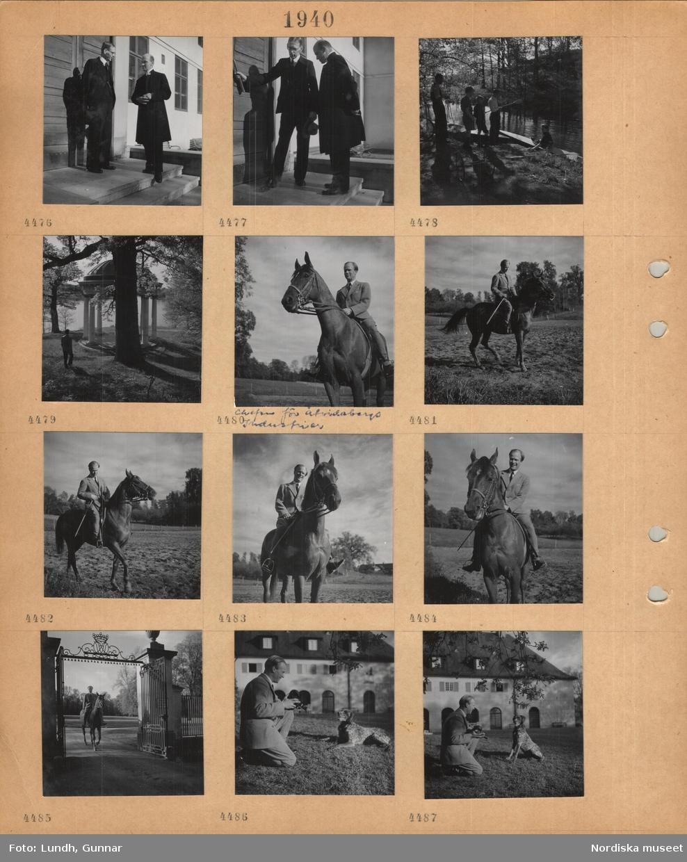 Moitv: Åtvidaberg, en man i kostym och en man i prästdräkt samtalar framför en större byggnad, pojkar med kajaker vid ett vattendrag, ekotempel bland träd vid sjö, man, chefen för Åtvidabergs industrier, till häst, rider in genom en större grind, tillsammans med en jakthund.