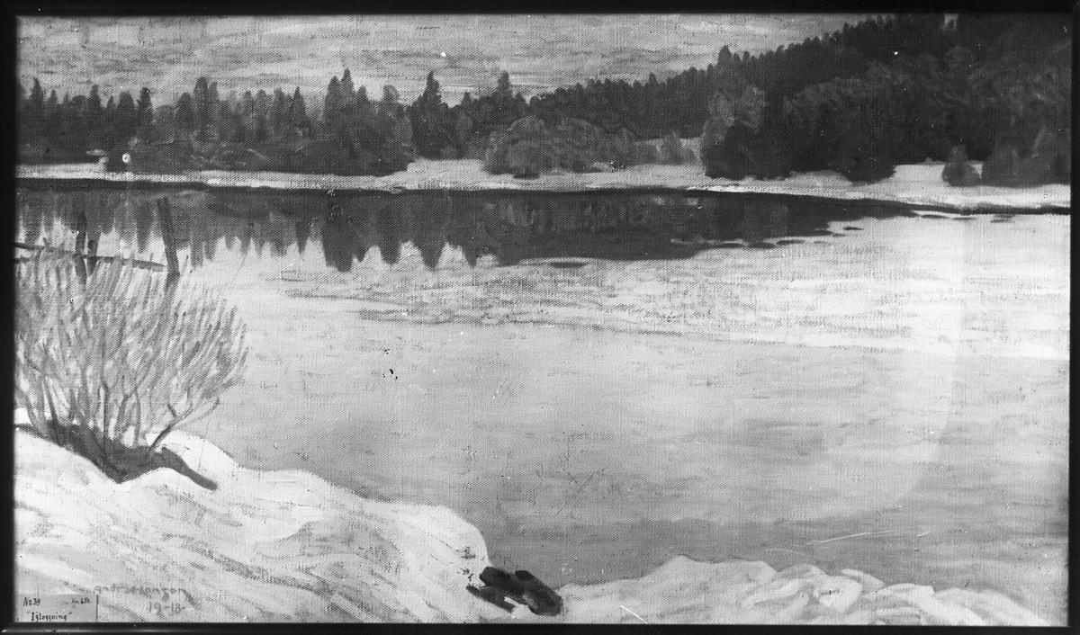 """Tavla målad av Andreas Hanson år 1918. """"Tjällossning"""". N:o 39. 650:-."""