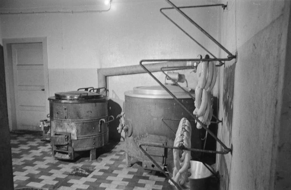 Slakteriarbeidere og distriktsveterinær Kurt Ragnvald Bakstad. Røine i arbeide ved slakteriet på Jernbanekaia.(1946-1959.) Flere bilder inne og ute. Salgslag slakteri