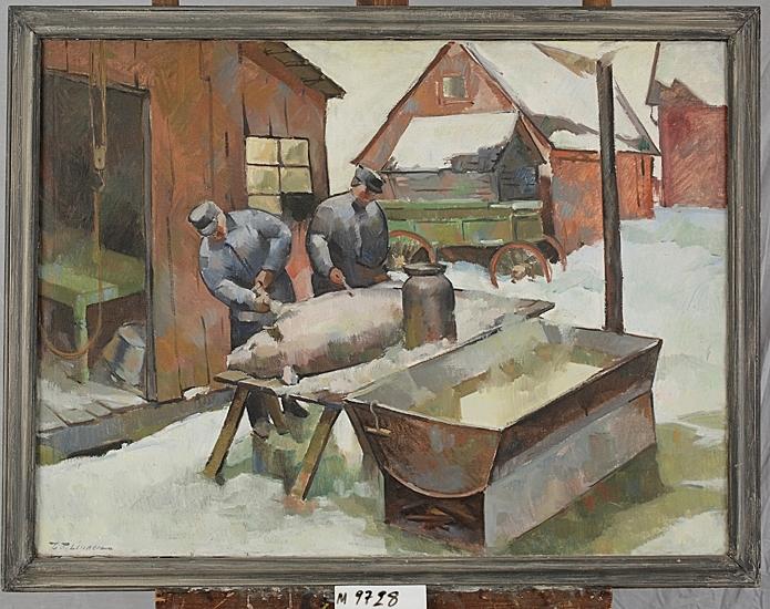 Oljemålning på duk. Två män rakar en slaktad gris utomhus, vid ett uthus. Vinterbild.