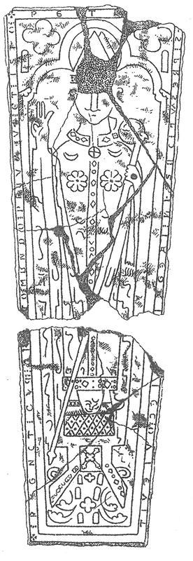 Middelaldergravstein; tegning av Henrik Mathiesen. (Foto/Photo)