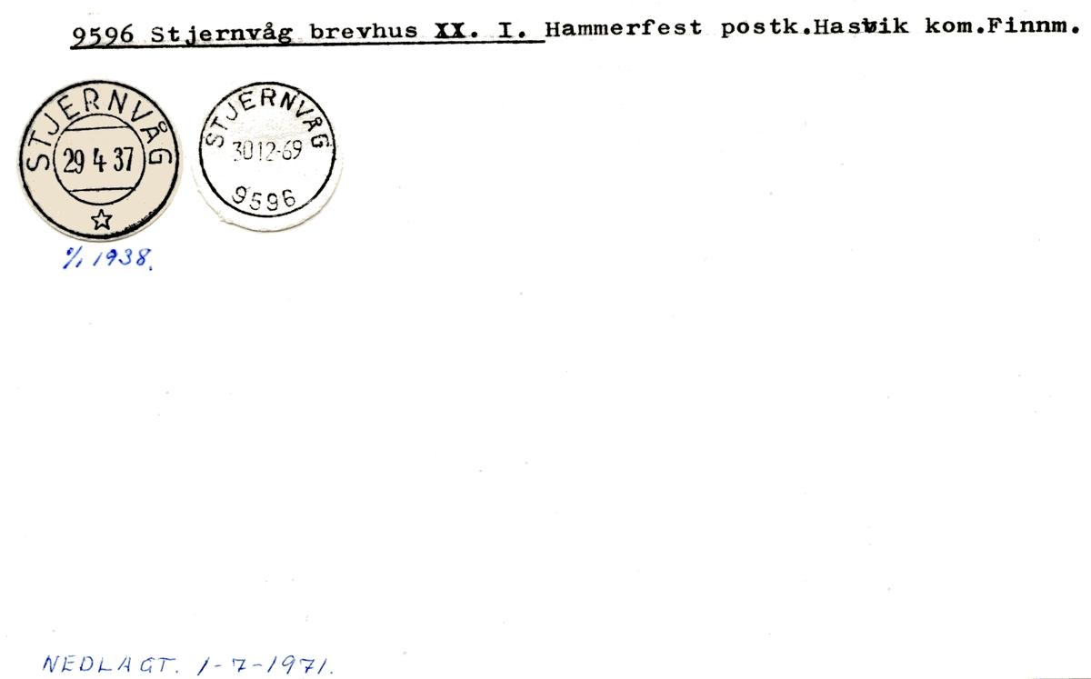 Stempelkatalog 9596 Stjernvåg, Hasvik, Finnmark