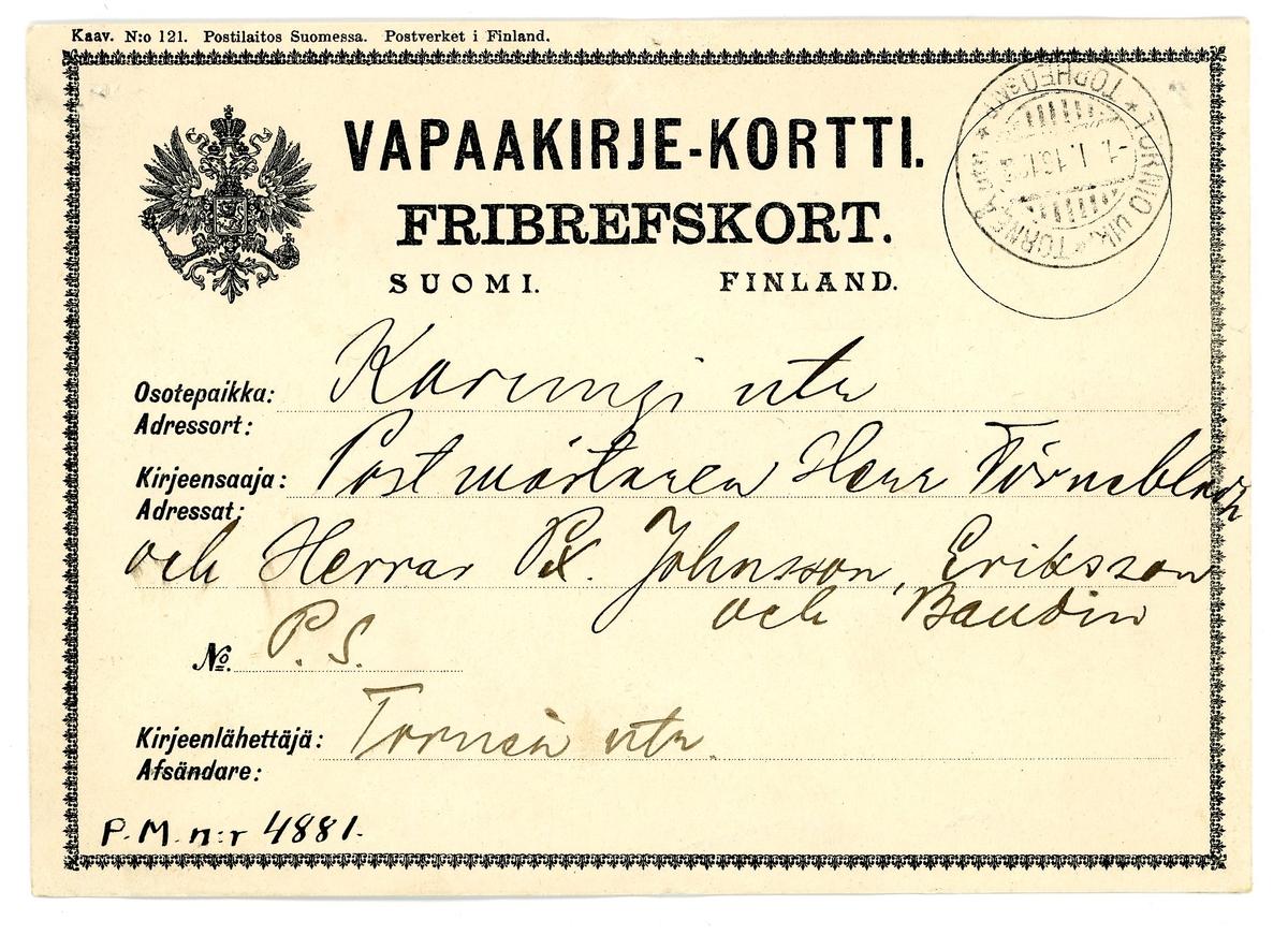 Fribrevskort skickat från postanstalten Torneå Utr till postanstalten karungi Utr. Inbjudan till fest.