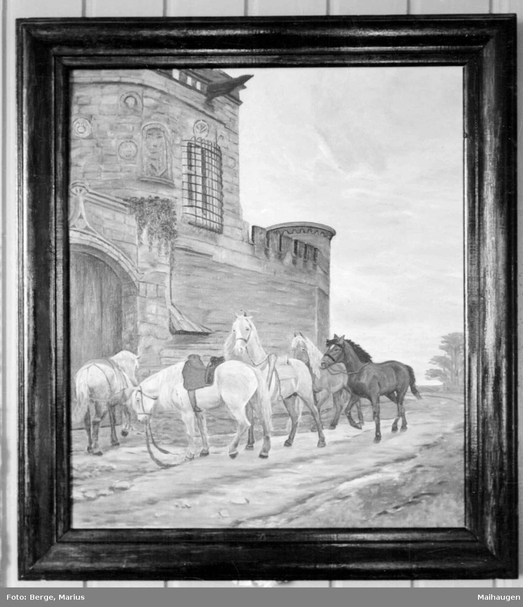 """Repro. Maleri av Christian Skredsvig """"Ballade"""". Inspirert av diktet """"Konnige Sverke den unge udi Sverige""""."""