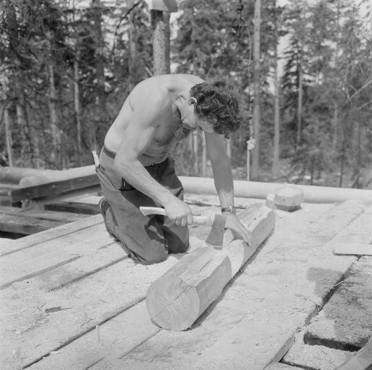 Timmerhusbyggare i Fagerviken, Hållnäs socken, Uppland augusti 1978