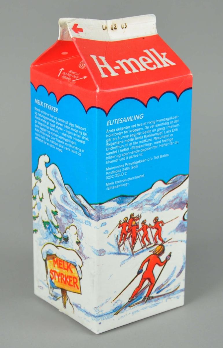 Melkekartong av papp. Melkekartongen har dekorative tegninger med motiv av hytte i vinterlandskap og mennesker på ski. Har en stående rektangulær form.