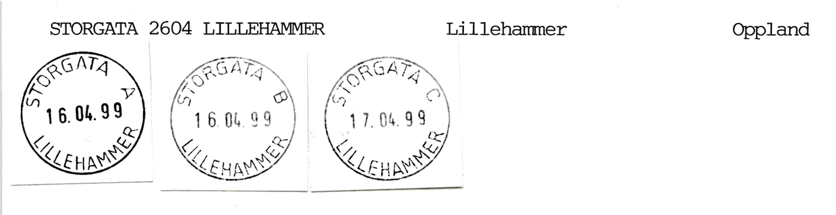 Stempelkatalog Storgata, Lillehammer, Oppland