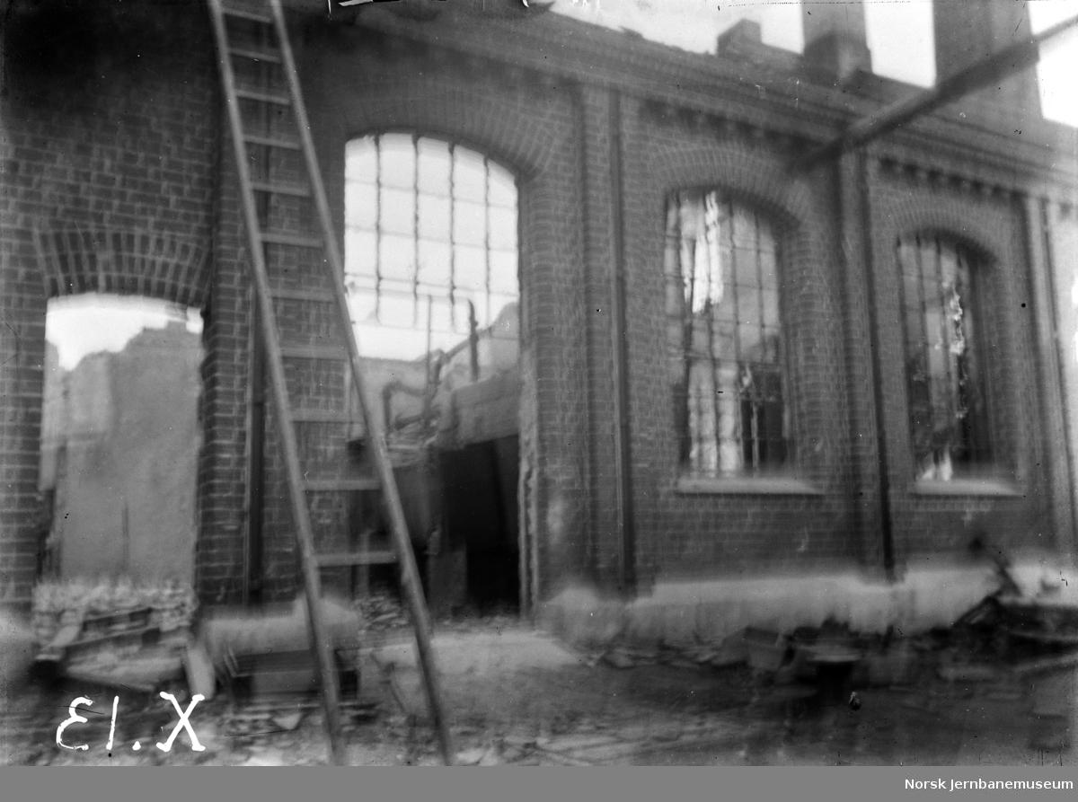 Ødeleggelser på Skabo Jernbanevognfabrik, trolig etter brannen i 1895
