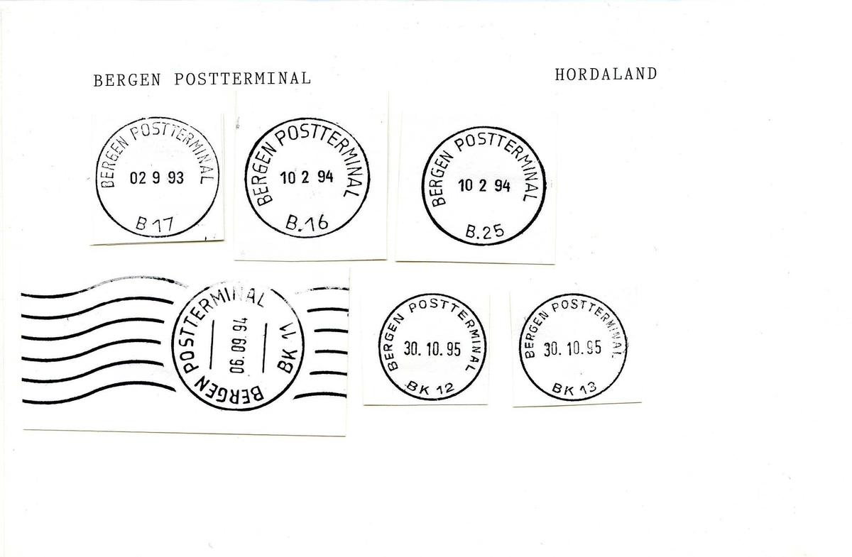 Stempelkatalog, Bergen postkontor. Bergen postterminal. Bergen kommune. Hordaland fylke.