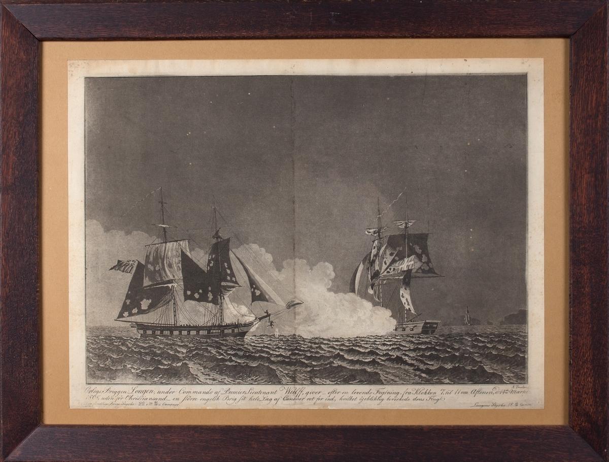 Trefning mellom britisk orlogsfartøy og den norske orlogsbriggen LOUGEN, to menn faller fra baugen på det britiske fartøyet.