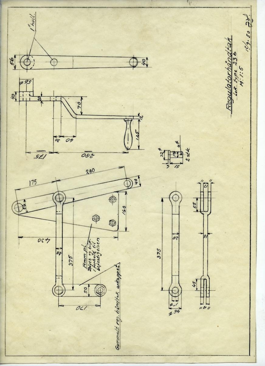 Håndtegnet arbeidstegning for regulatorhåndtak til lok. type 23b. Utarbeidet ved Krossen 15.09.1950