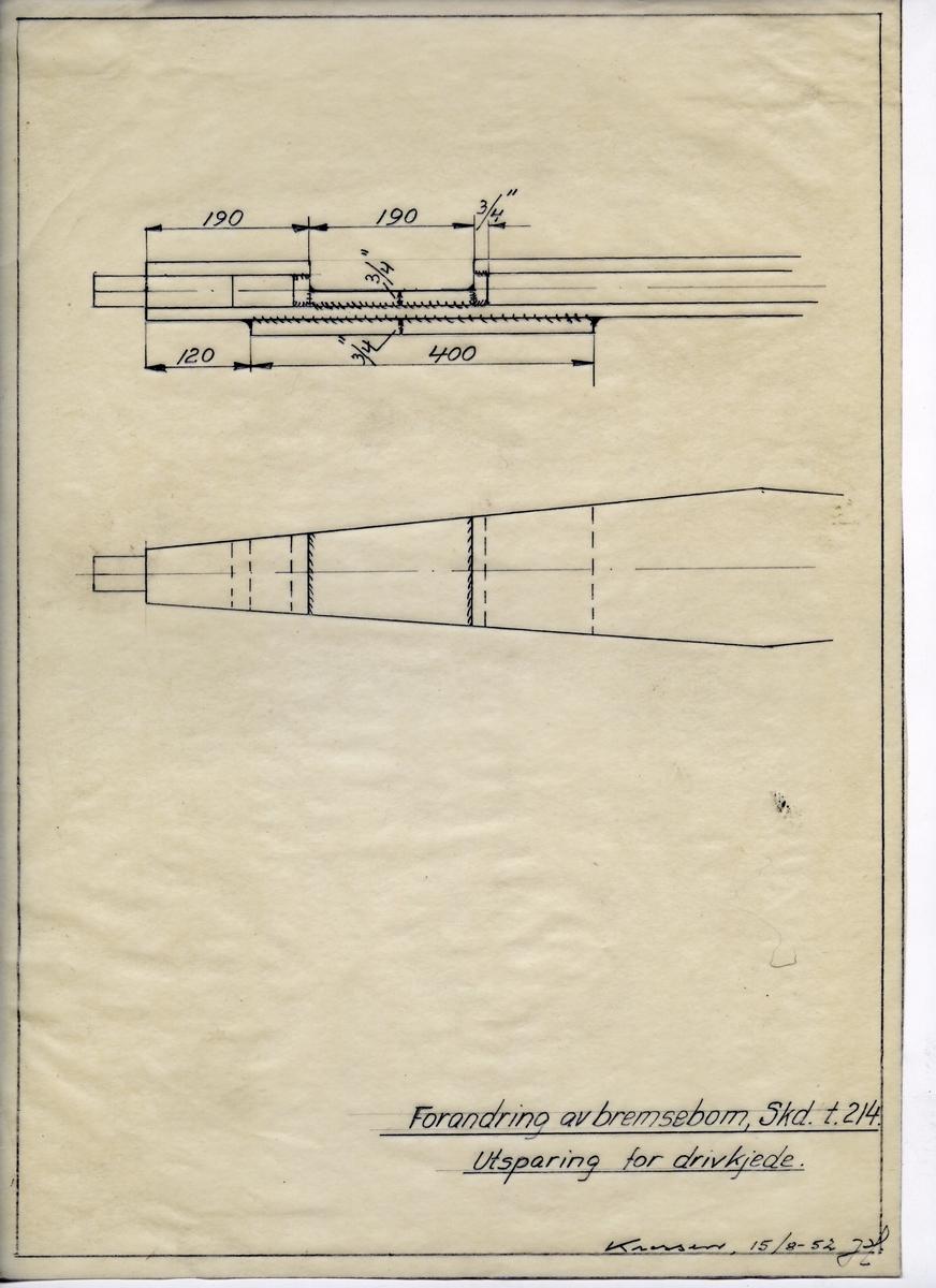 Håndtegnet arbeidstegning i forbindelse med forandring av bremsebom, Skd. t. 214. Utsparing for drifkjede. Utarbeidet ved Krossen i 1952