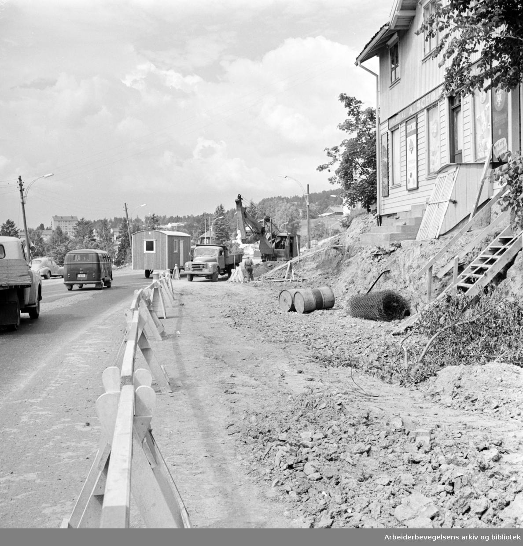 Trondhjemsveien ved Lunden. Juli 1962
